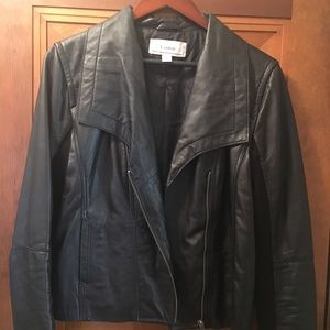 Caslon Jackets & Coats - Caslon leather jacket w/angled zip-Great condition